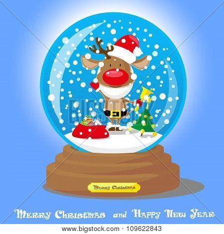 Vector Christmas Snow Globe:  Deer In Santa Hat And Beard With Big Bag Gifts On Blue Gradient Backgr
