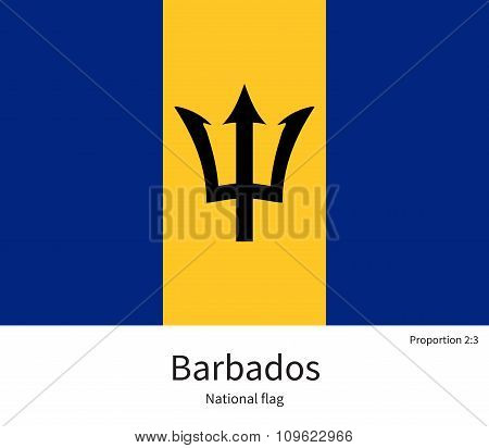 National flag of Barbados with correct proportions, element, colors