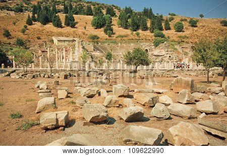 Ruined Street Of Ancient City Ephesus With Broken Walls And Columns, Turkey