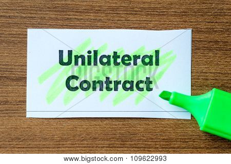 Unilateral Contract Word Hightlighted