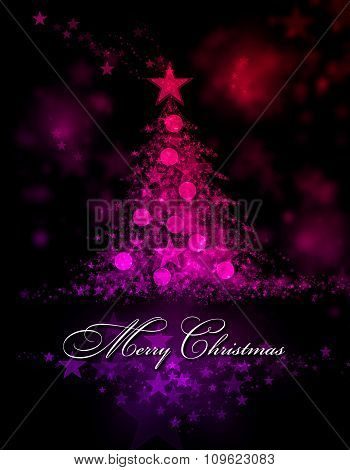 Merry Christmas. Red And Purple Background With A Christmas Tree And Merry Christmas Text