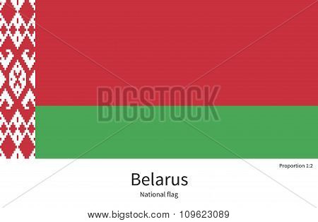 National flag of Belarus with correct proportions, element, colors