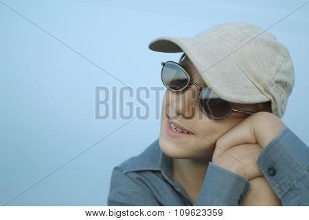 Happy boy in sunglasses