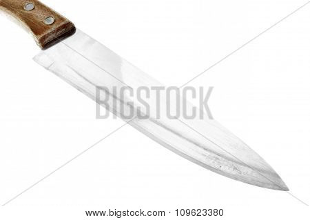 Knife, shiny stainless metal blade with glint isolated on white