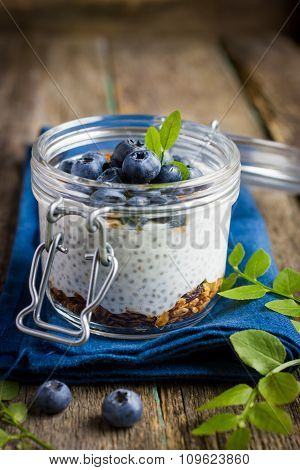 Pudding  With Chia Seeds, Granola Andblueberry