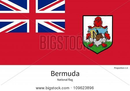 National flag of Bermuda with correct proportions, element, colors