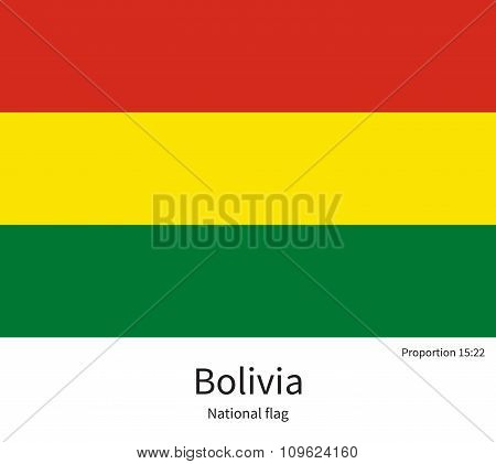 National flag of Bolivia with correct proportions, element, colors