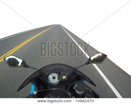Motorcycle on Road Isolated