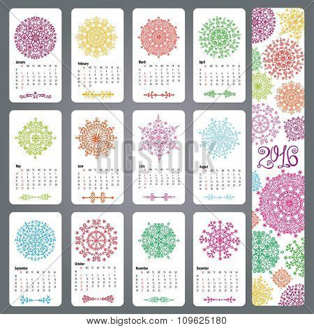 Calendar 2016.Colored snowflakes shapes,mandala