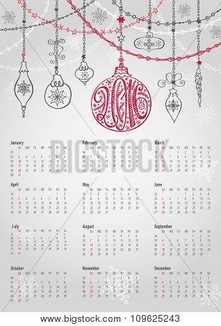 Calendar 2016.Christmas ball,garlands,lettering