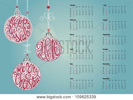 Calendar 2016.Christmas ball,letterin. Cyan
