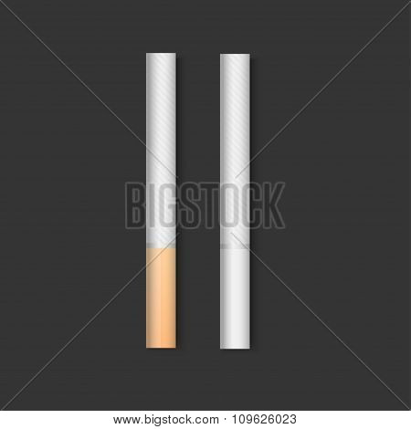 Set Of Cigarettes During Different Stages Of Burn.
