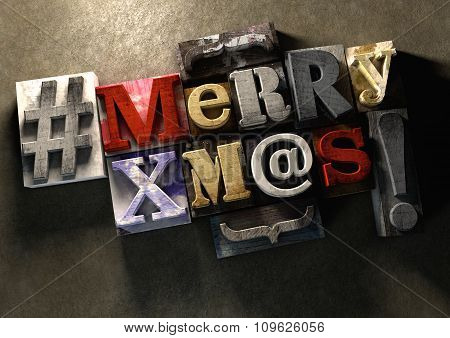 Merry Christmas Xmas Title In Vintage Wood Block Text And Hashtag
