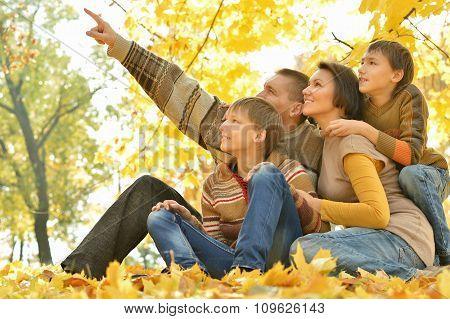Family of four enjoying