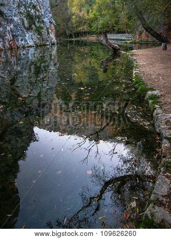 Landscape With Reflections In The Lake At Monasterio De Piedra, Zaragoza, Aragon