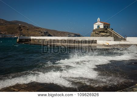 Small White Church On The Beach, Andros, Greece