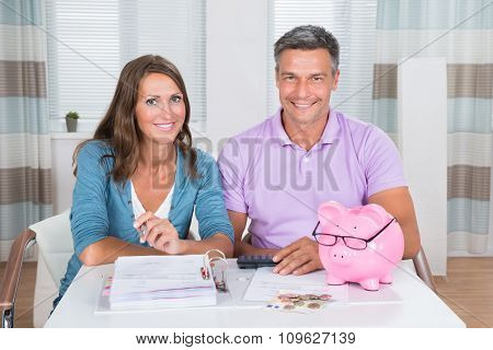 Portrait Of A Couple Calculating Bills