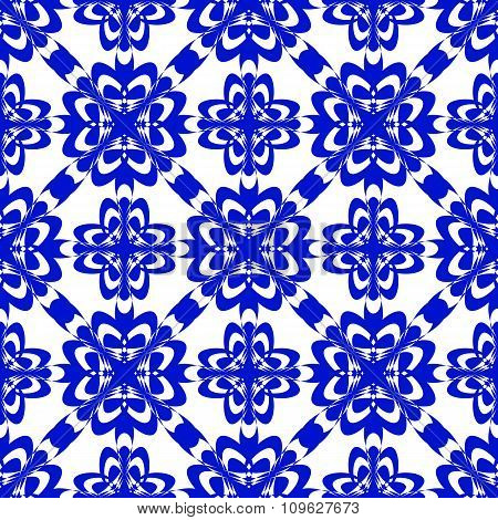 Vector Seamless Blue Ornament Background