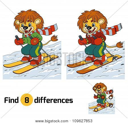 Find Differences Game: Little Lion Skiing