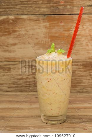 Apples Smoothie On Wooden Floor.