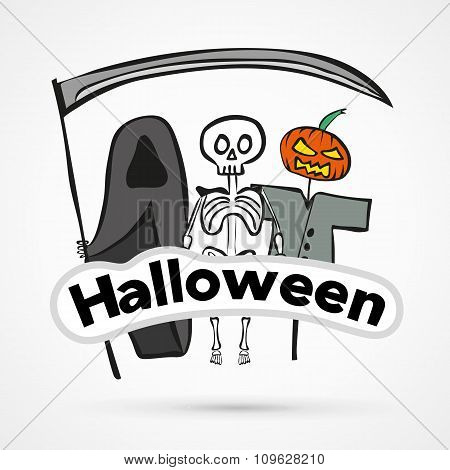 Vector funny halloween stiker