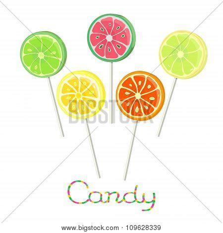 Fruit lollipops on stick
