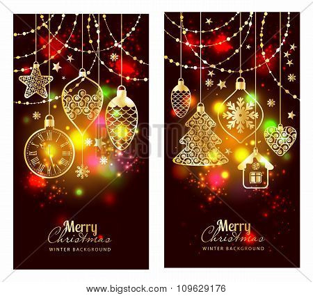 Christmass Toys On Dark Background. Holiday Banners Set.
