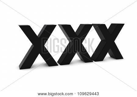 Xxx Black 3D Text Isolated On White With Shadows