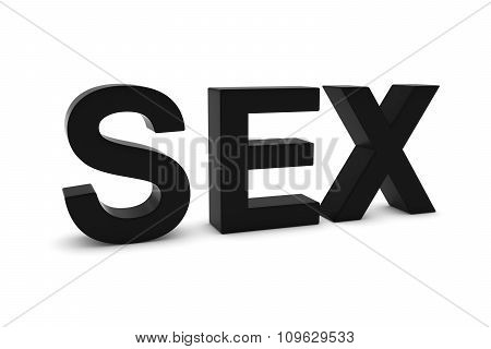 Sex Black 3D Text Isolated On White With Shadows