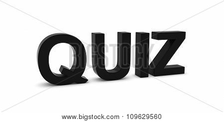 Quiz Black 3D Text Isolated On White With Shadows