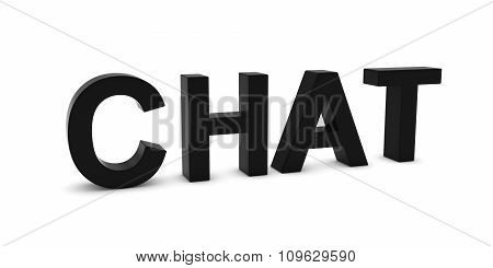 Chat Black 3D Text Isolated On White With Shadows