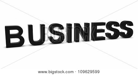 Business Black 3D Text Isolated On White With Shadows