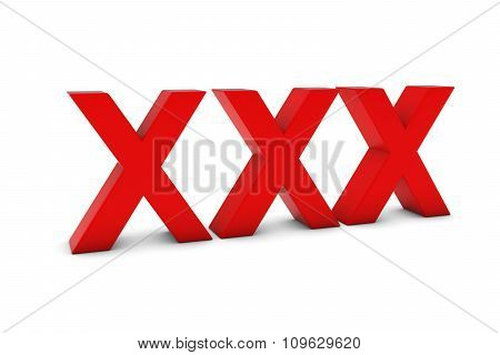 Xxx Red 3D Text Isolated On White With Shadows
