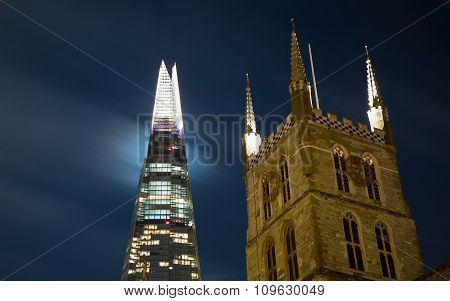The Shard and Southwark Cathedral by Night