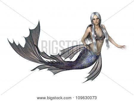 Fantasy Mermaid On White