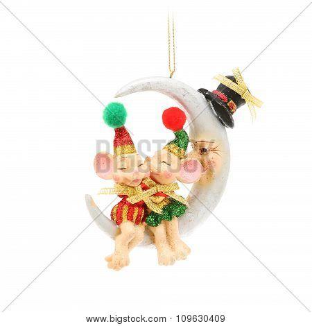 Kissing mice and half moon. Christmas decoration