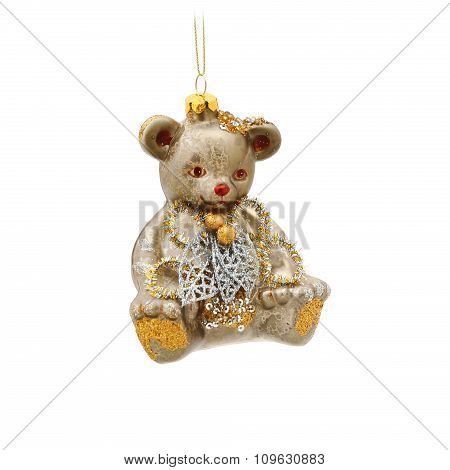 Teddy bear Christmas tree ornament isolated on a white background