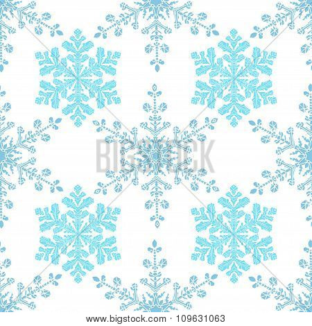 Festive seamless pattern with blue colored snowflakes on white background