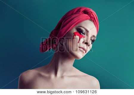 Beauty woman portrait with red towel