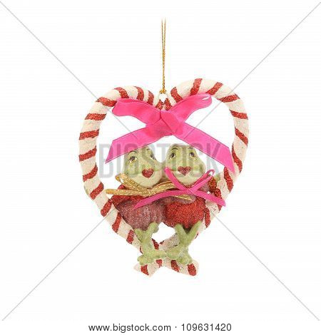 Frogs in heart. Christmas decoration