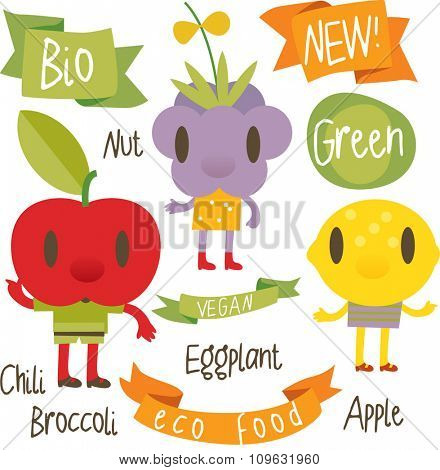 vector isolated cartoon comic amusing collection of fruits and vegetables for books, apps, labels, stickers: lemon, apple, blackberry