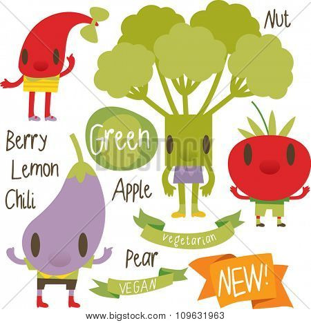 vector isolated cartoon comic amusing collection of fruits and vegetables for books, apps, labels, stickers: chili, broccoli, tomato, eggplant
