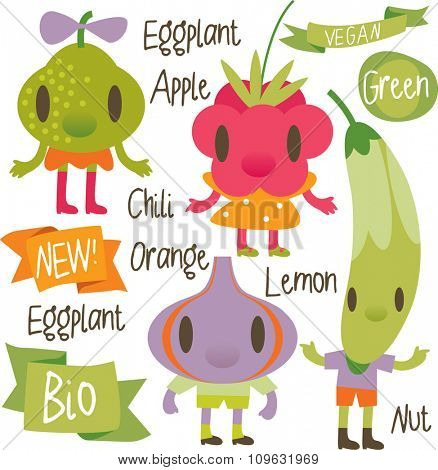 vector isolated cartoon comic amusing collection of fruits and vegetables for books, apps, labels, stickers: pear, raspberry, zucchini, fig