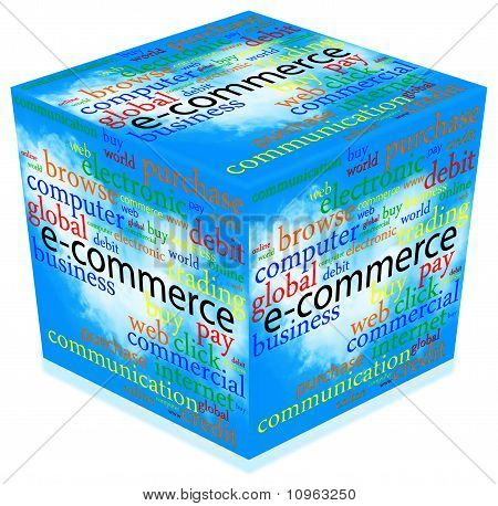 E-commerce 3D Cube With Text Over Clouds