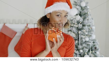 Pretty young African woman in a red top and Santa hat holding a gift wrapped in decorative paper as she stands in front of the decorated tree.