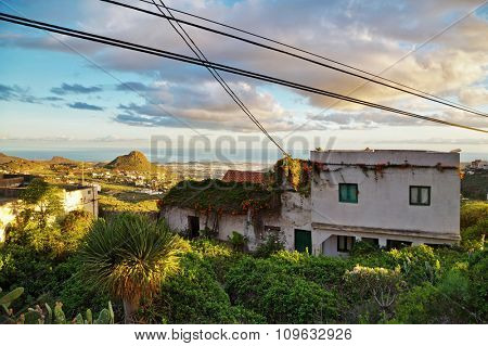 Old house on hill with view on sea and mountains in the mountains inTenerife, Canary Islands, Spain