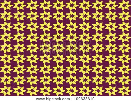 Abstract Yellow Star Shape Seamless Pattern Background