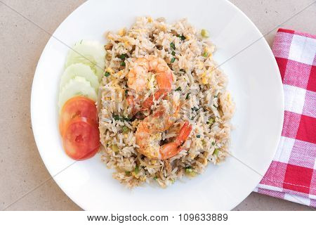 Thai Food Fire Rice With Shrimp And Eggs