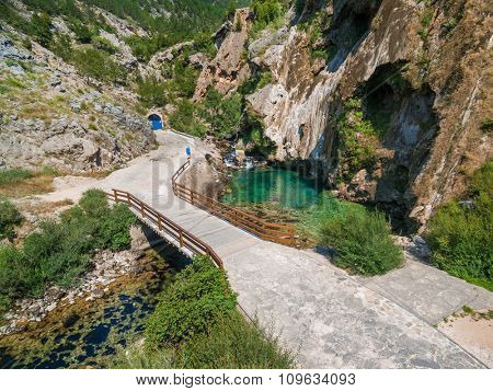 Aerial view of the bridge near Glavas source of the Cetina river, Croatia.