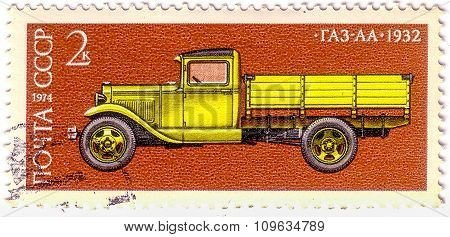 Ussr - Circa 1974: Postage Stamp Printed In Ussr. Shows Historic Car Zis-5 Soviet Cargo Truck With C